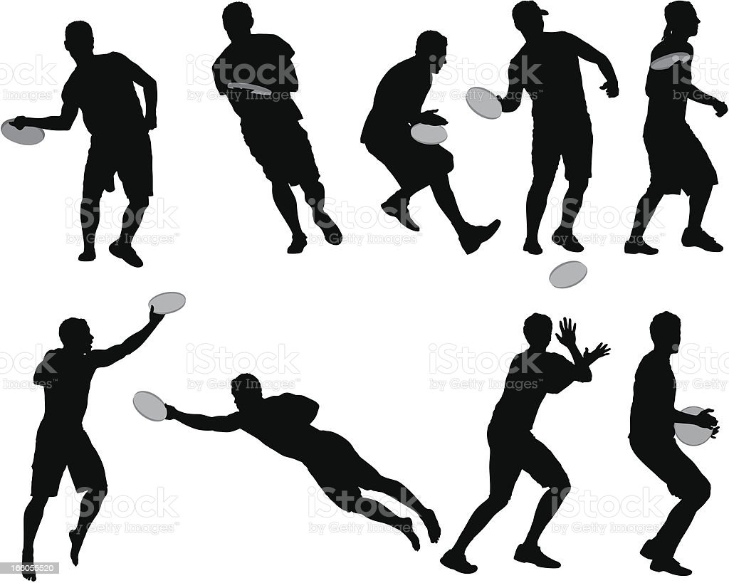 Multiple images of men playing frisbee royalty-free stock vector art