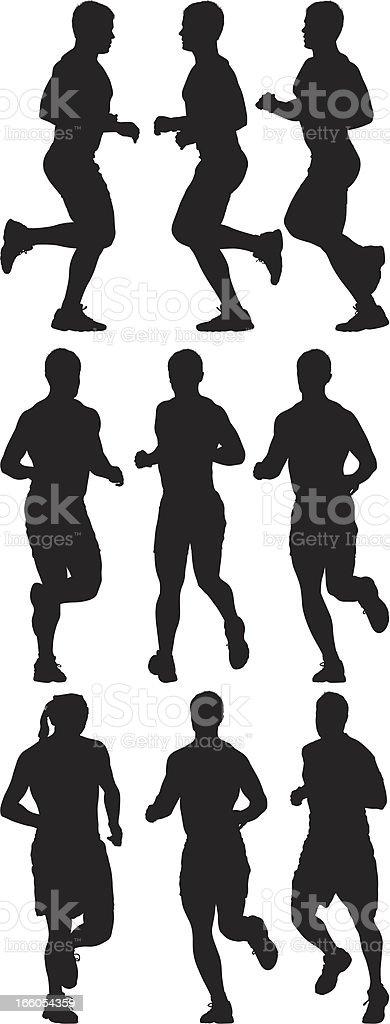 Multiple images of men running royalty-free stock vector art
