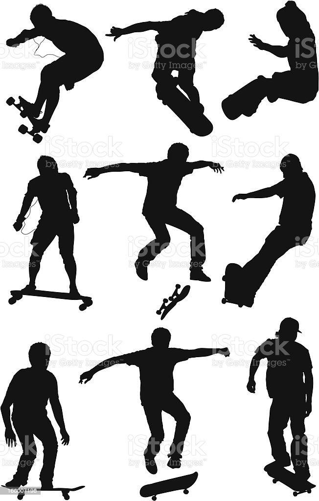Multiple images of men skateboarding royalty-free stock vector art