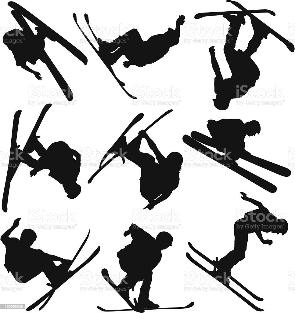 Multiple images of men skiing vector art illustration
