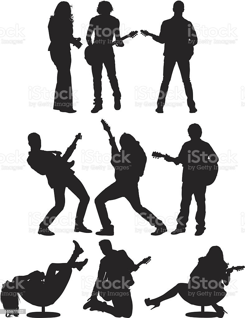 Multiple images of musicians vector art illustration