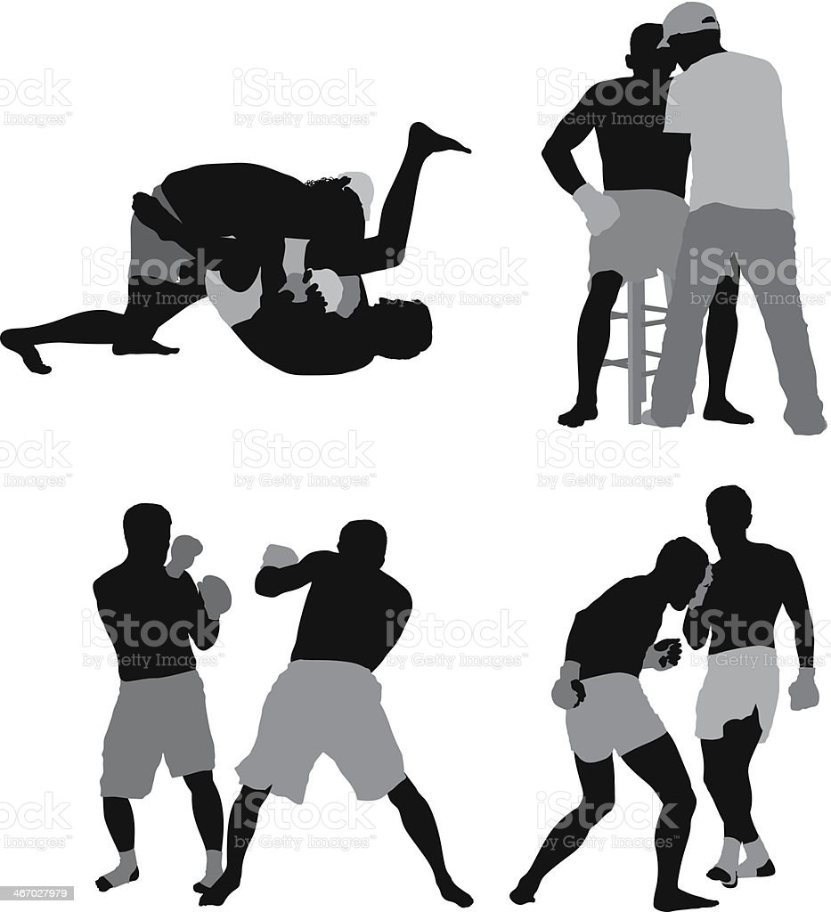Multiple images of people doing MMA royalty-free stock vector art