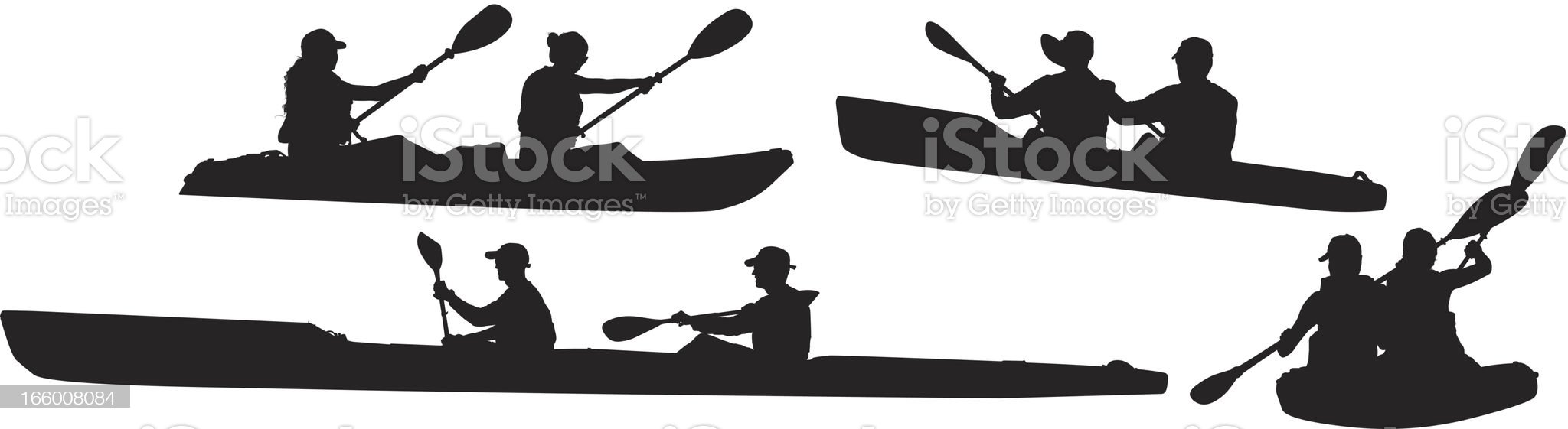 Multiple images of people kayaking royalty-free stock vector art