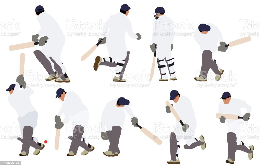 Multiple images of people playing cricket royalty-free stock vector art