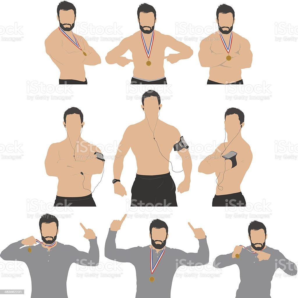 Multiple images of sportsmen royalty-free stock vector art