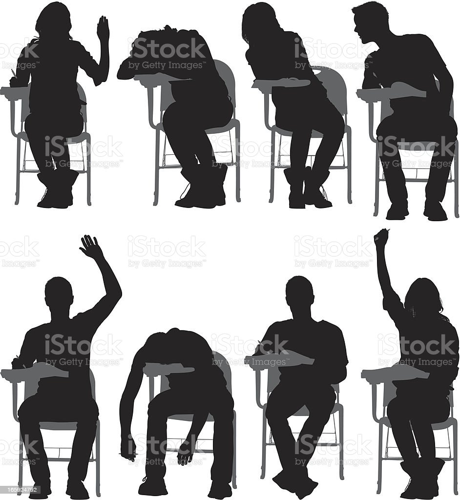 Multiple images of students sitting on writing chairs royalty-free stock vector art