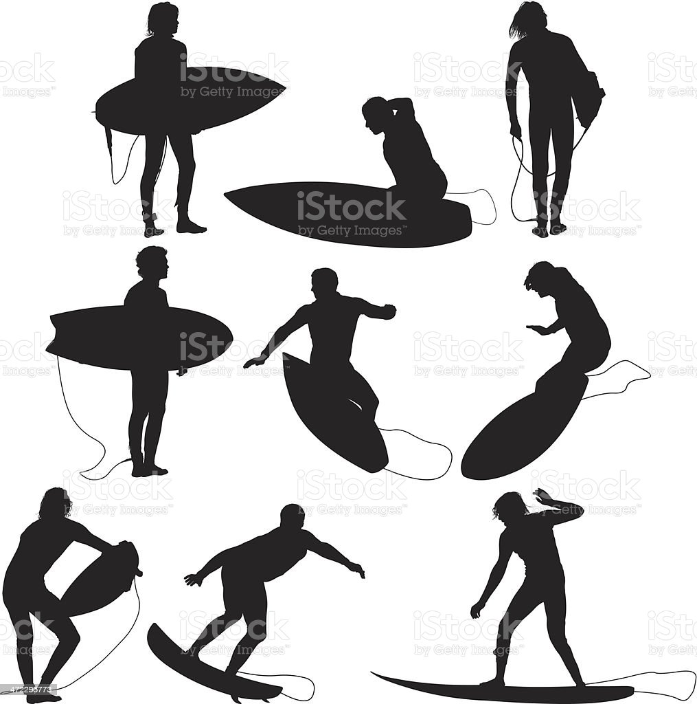 Multiple images of surfers surfing royalty-free stock vector art
