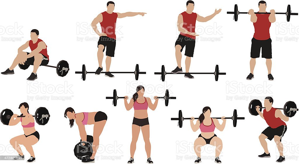 Multiple images of weightlifters royalty-free stock vector art