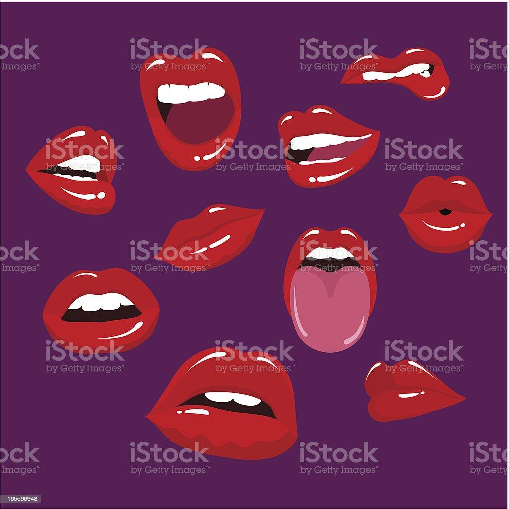 Multiple lips in a purple background vector art illustration