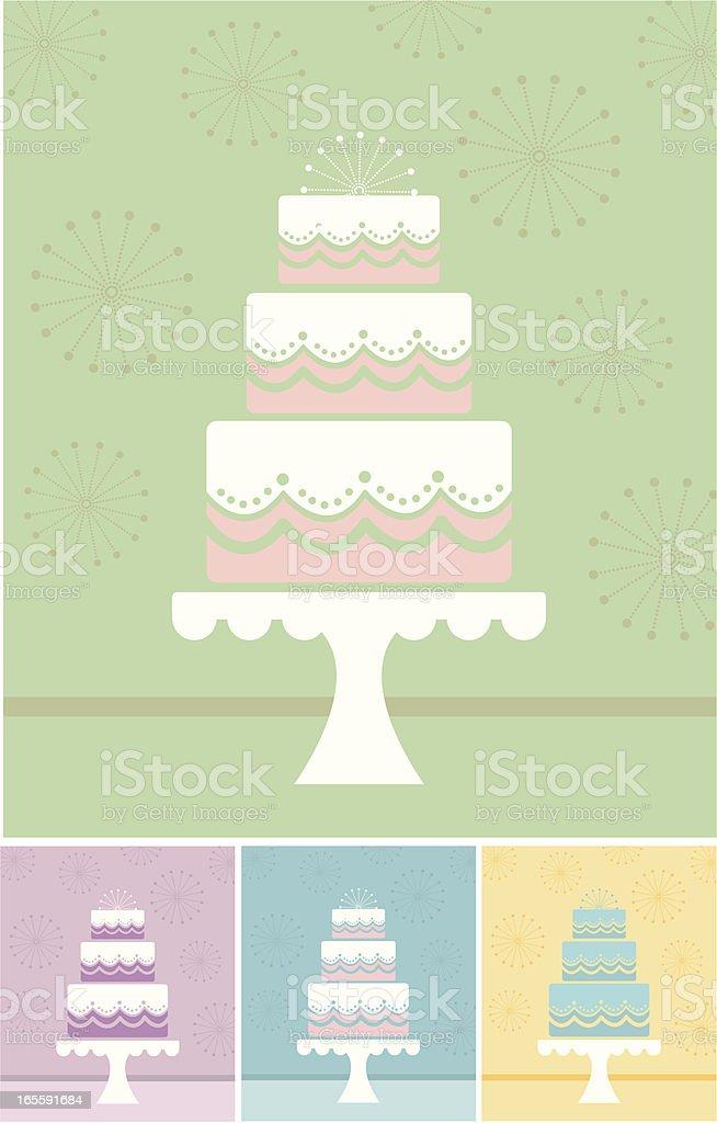 Multiple minimalist illustrations of a wedding cake vector art illustration
