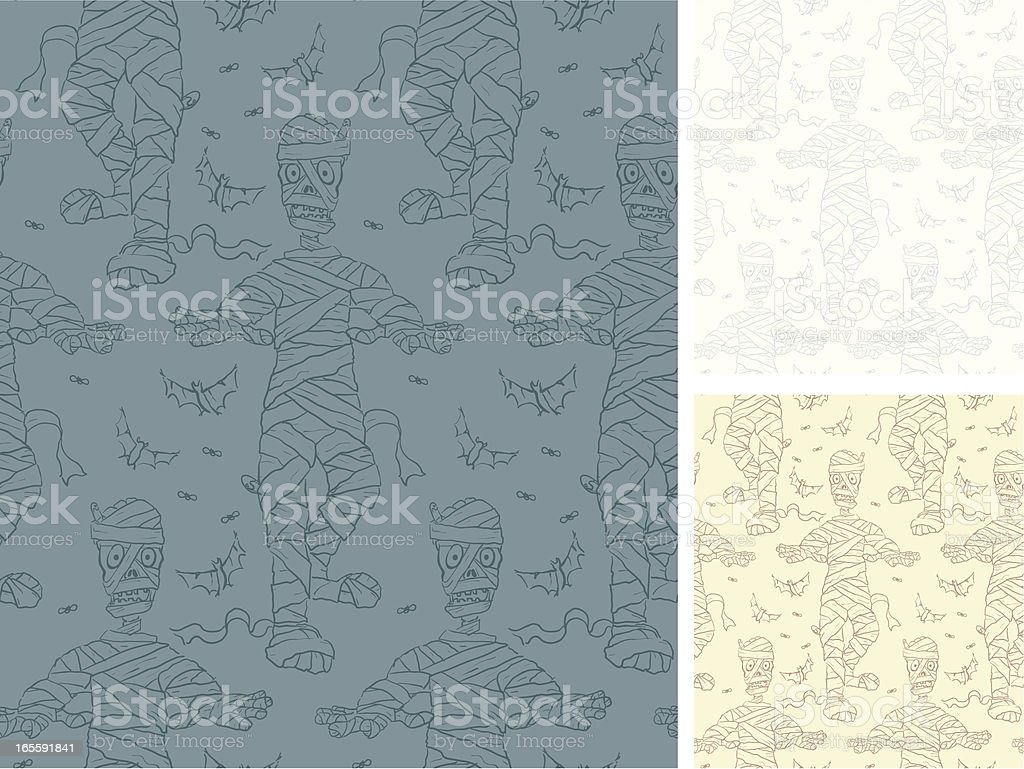 Multiple Mummies Seamless Patterns stone- Haloween royalty-free stock vector art