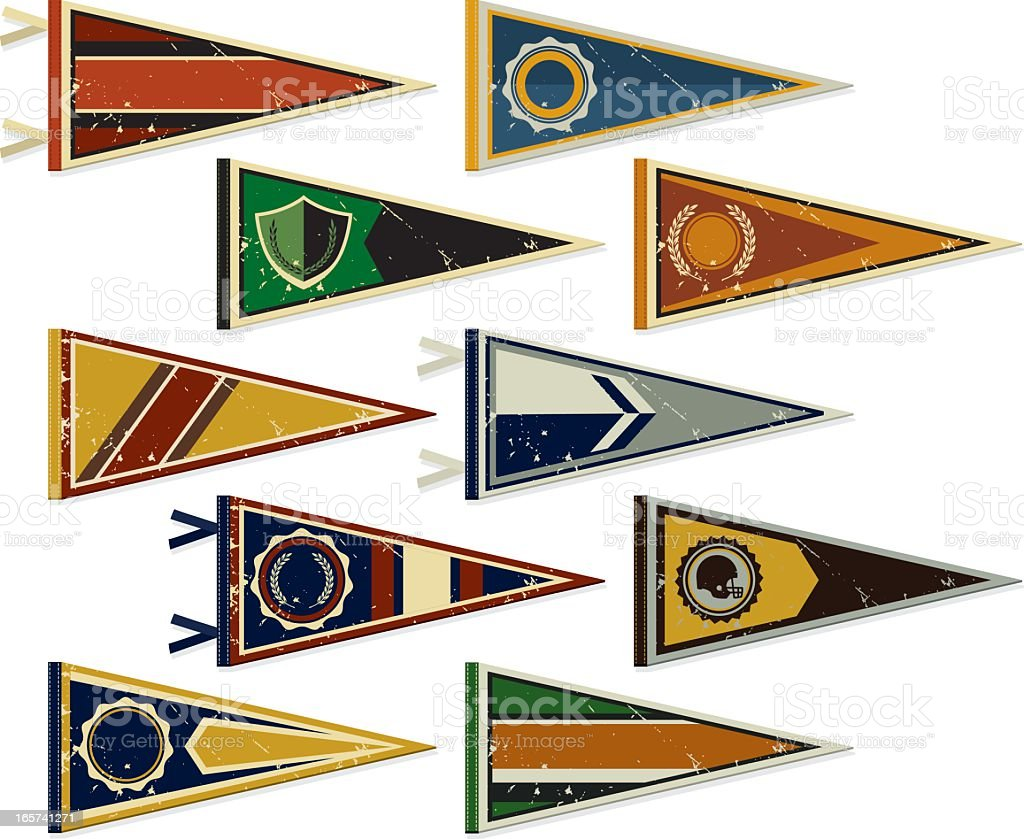 Multiple pennants on a white background vector art illustration