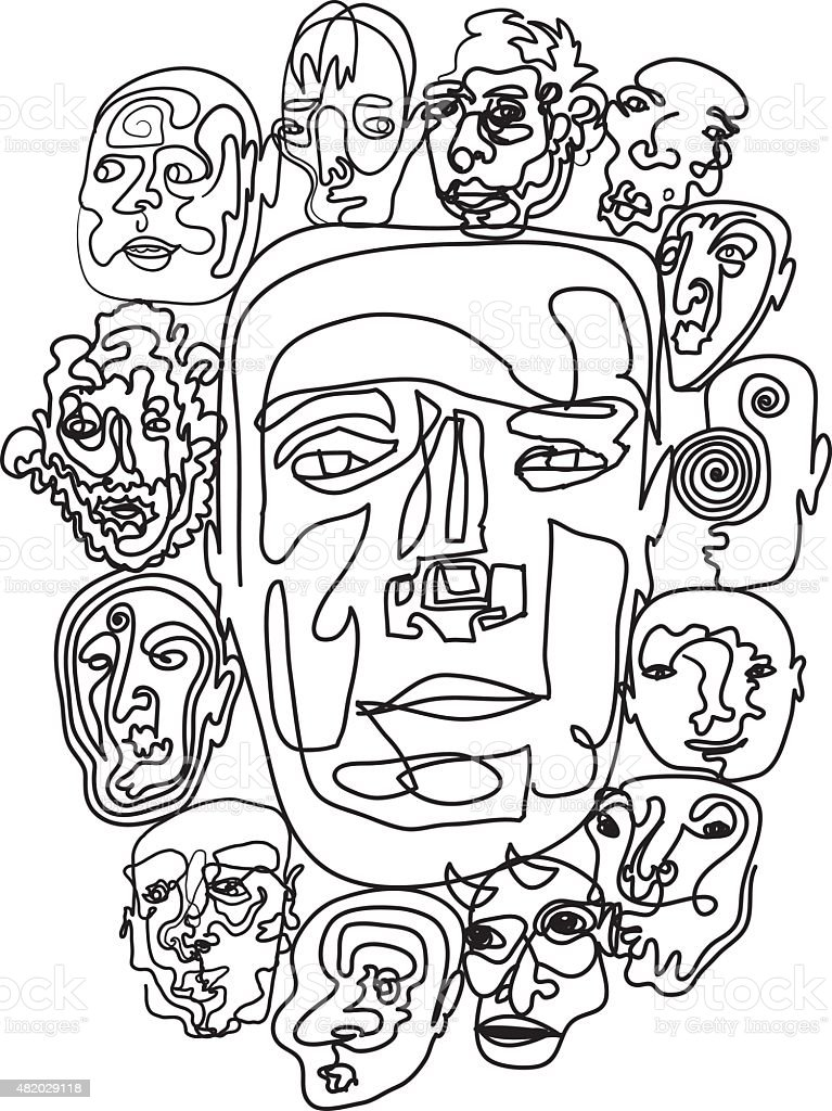 Multiple Personalities vector art illustration
