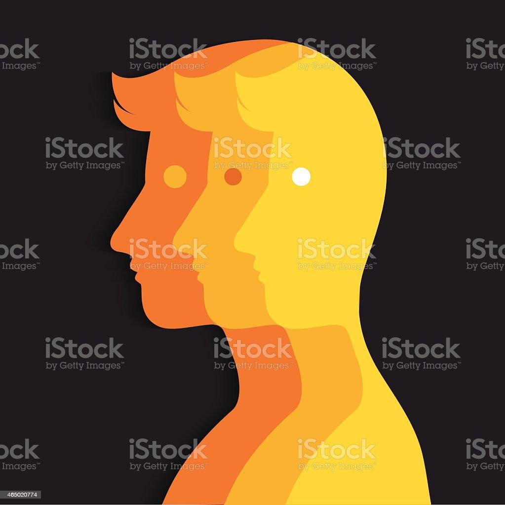 Multiple personality vector art illustration