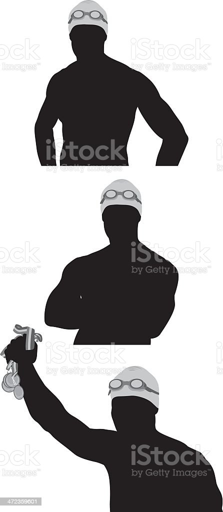 Multiple silhouette image of a male swimmer royalty-free stock vector art