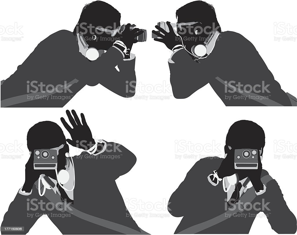 Multiple silhouette of a male photographer royalty-free stock vector art
