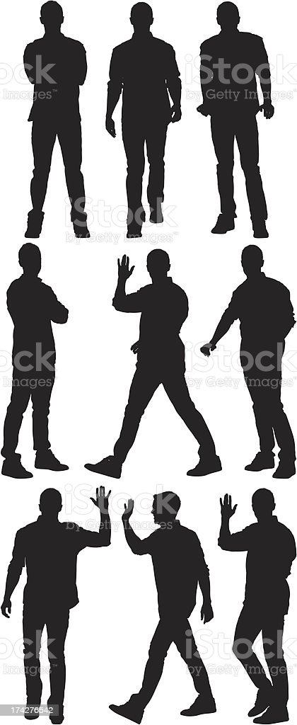 Multiple silhouette of a man in different poses vector art illustration