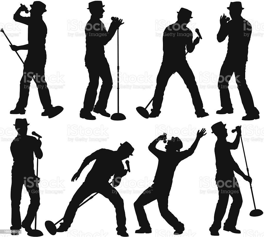 Multiple silhouette of a man singing vector art illustration