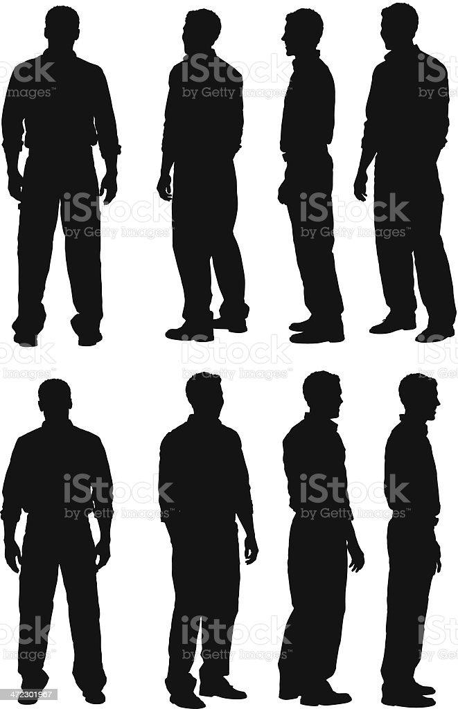 Multiple silhouette of men standing vector art illustration