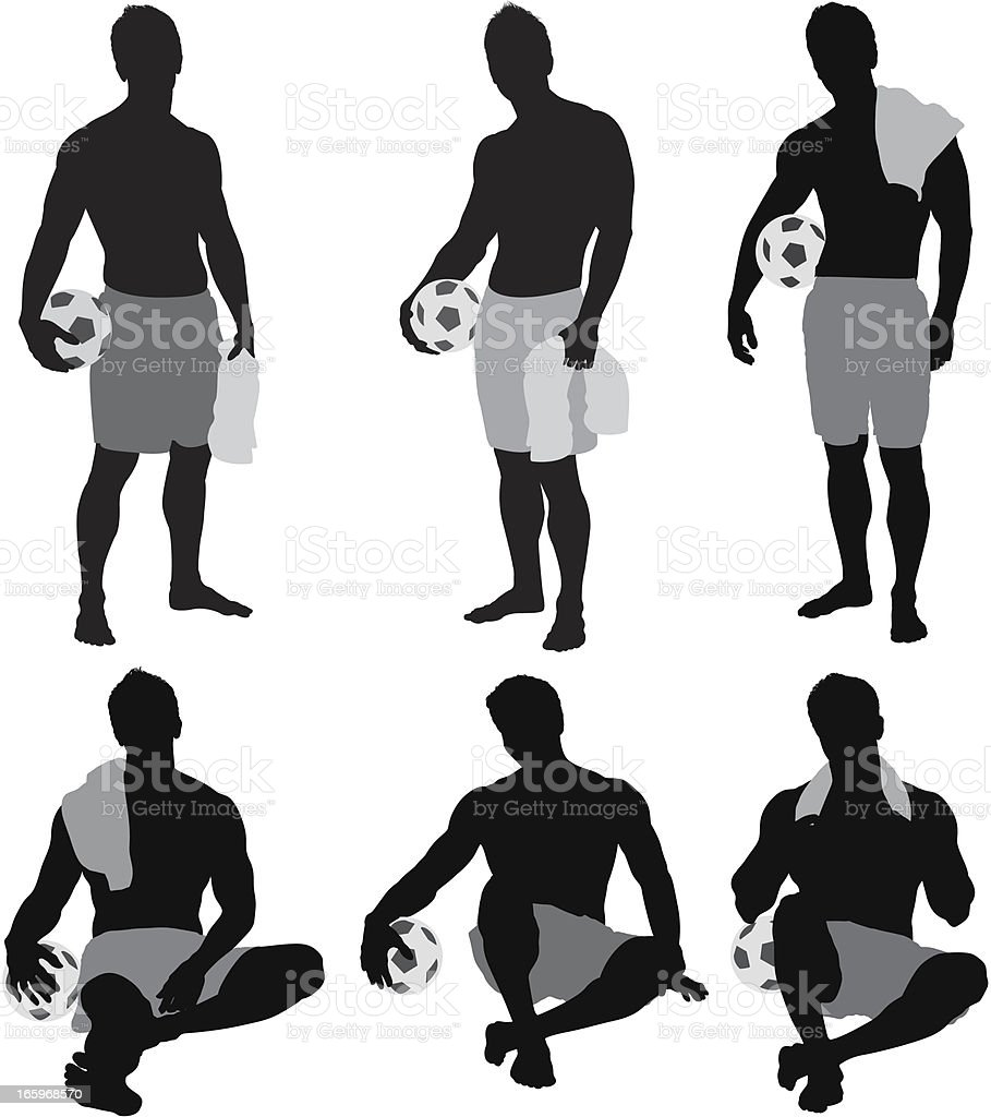 Multiple silhouette of shirtless man with soccer ball royalty-free stock vector art