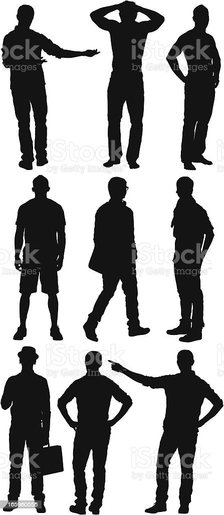 Multiple silhouette of young man vector art illustration