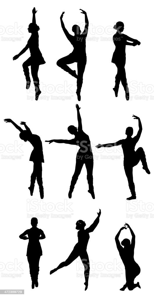 Multiple silhouettes of a ballet dancer dancing royalty-free stock vector art