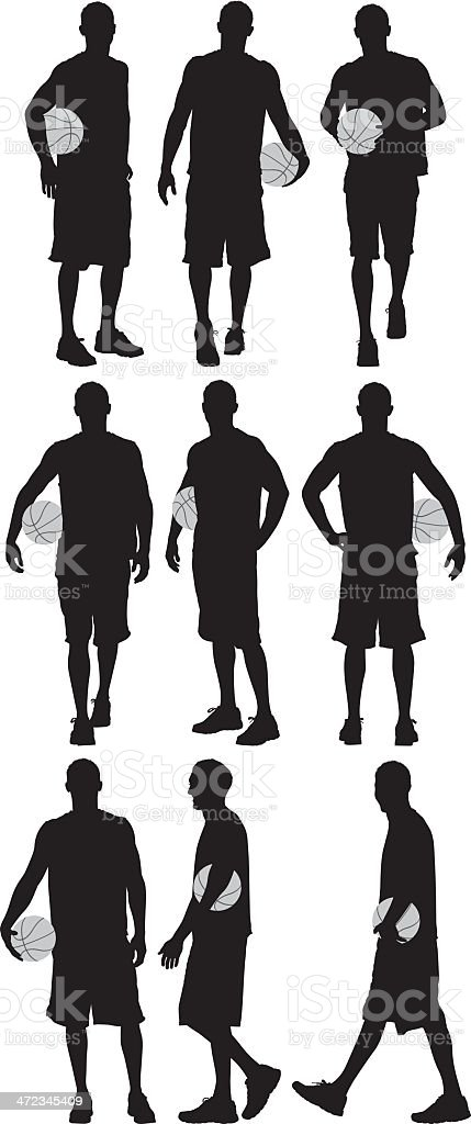 Multiple silhouettes of a basketball player vector art illustration