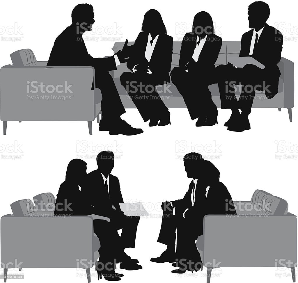 Multiple silhouettes of a business team royalty-free stock vector art
