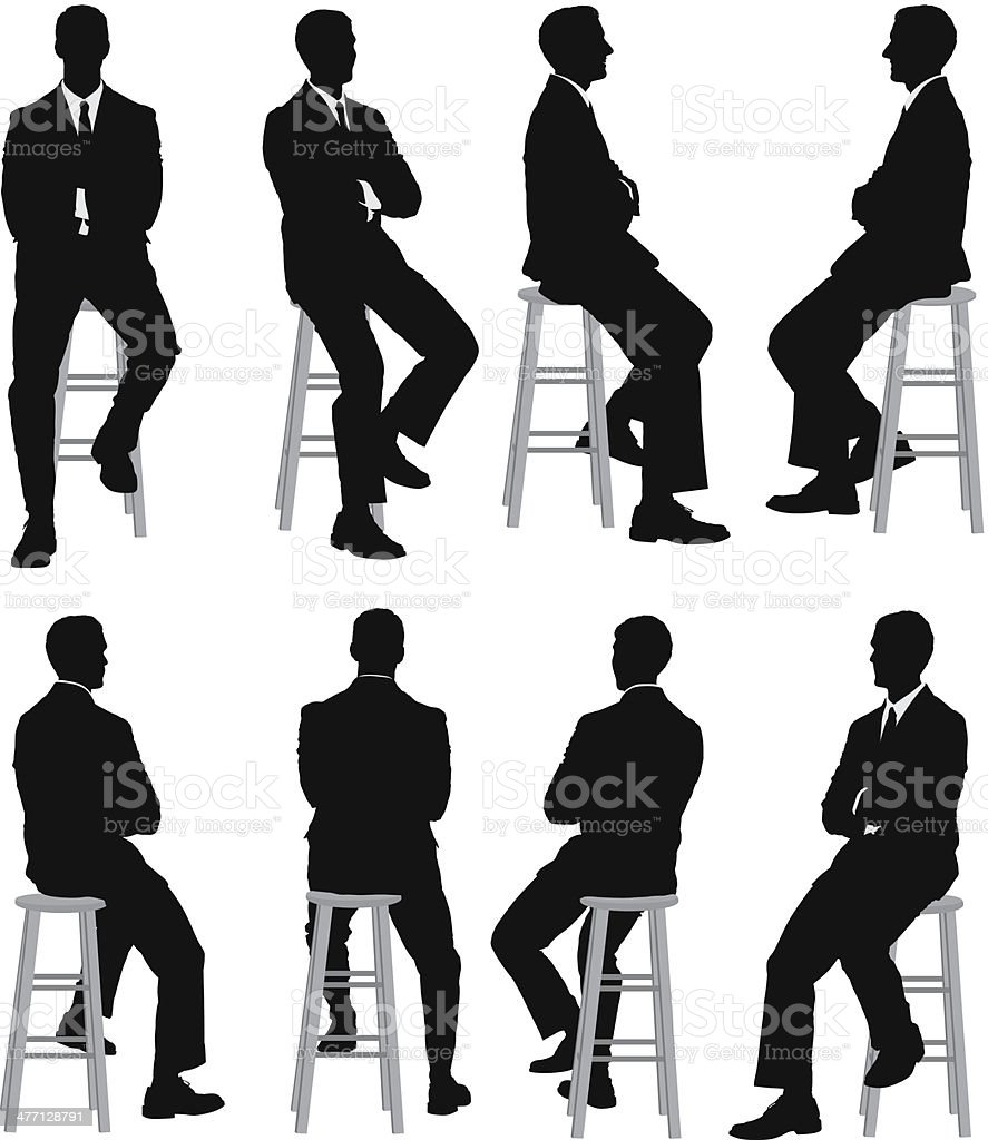 Multiple silhouettes of a businessman sitting vector art illustration
