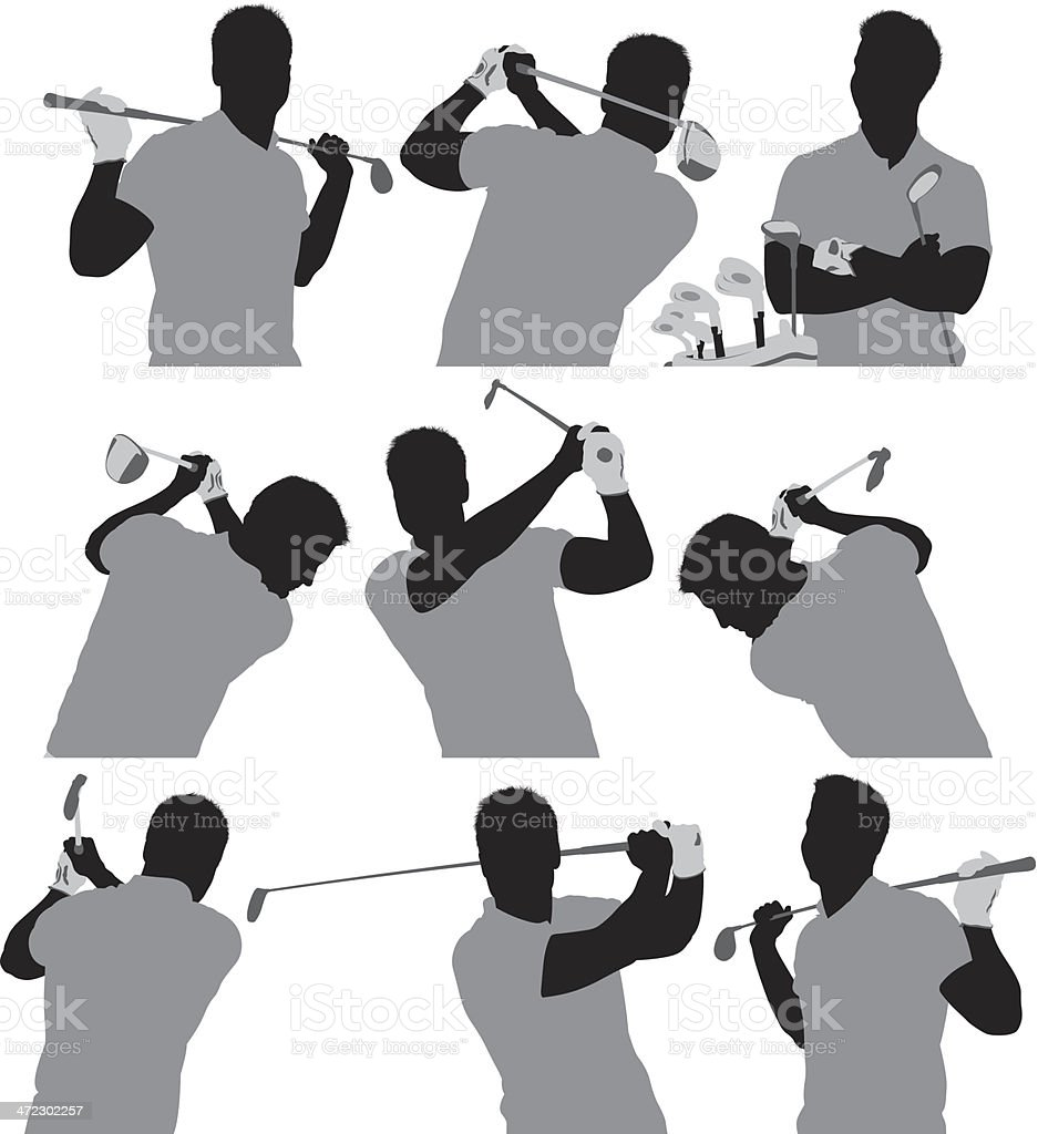 Multiple silhouettes of a golfer royalty-free stock vector art