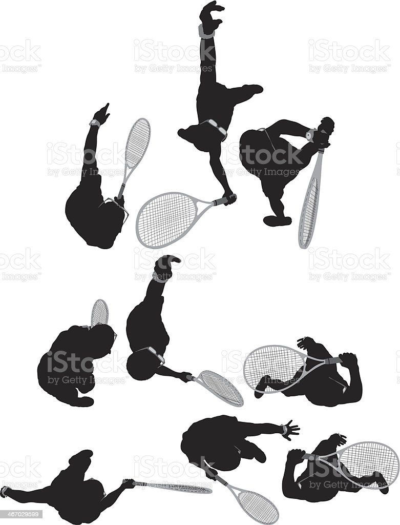 Multiple silhouettes of a man playing tennis royalty-free stock vector art