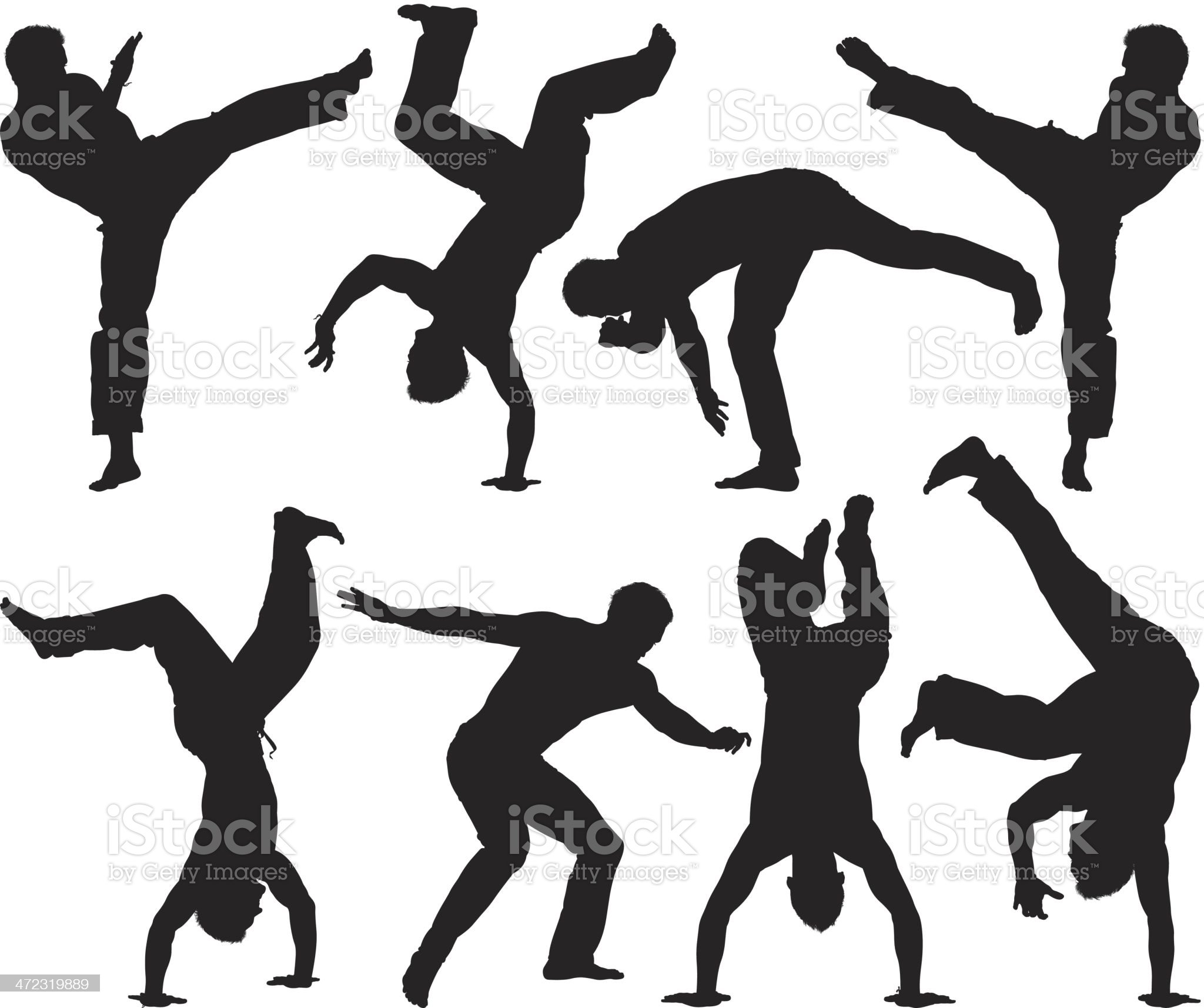 Multiple silhouettes of a man practicing capoeira royalty-free stock vector art