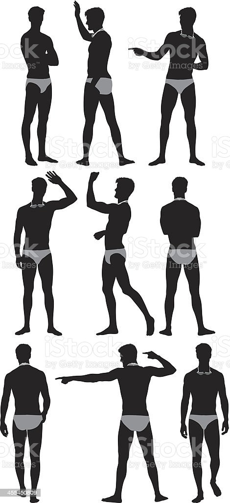Multiple silhouettes of a swimmer vector art illustration