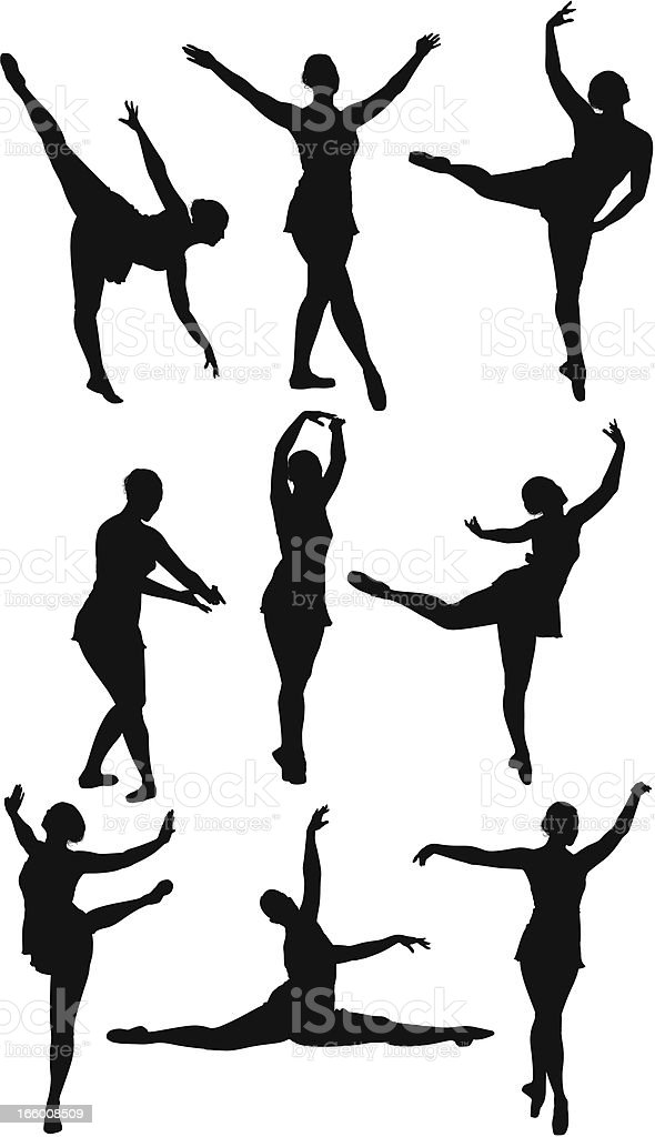 Multiple silhouettes of ballet dancers royalty-free stock vector art