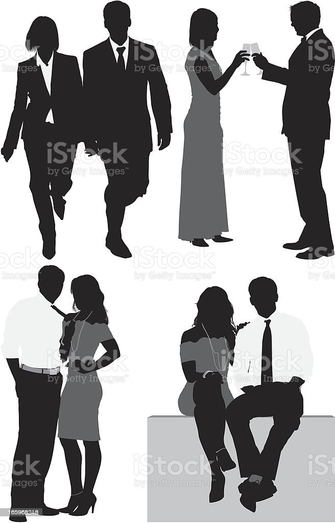 Multiple silhouettes of business couple royalty-free stock vector art