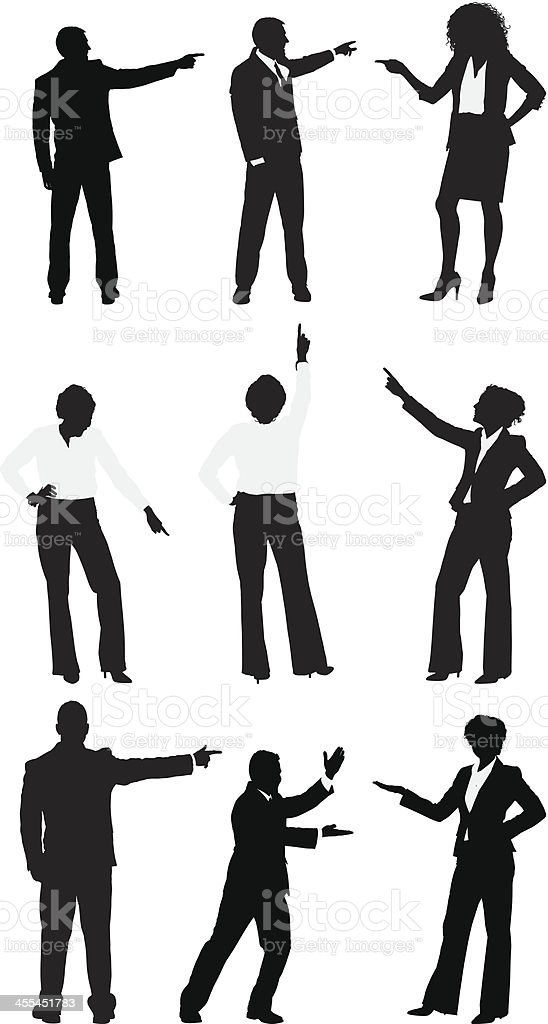 Multiple silhouettes of business people gesturing vector art illustration