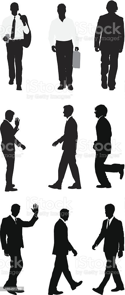 Multiple silhouettes of business people royalty-free stock vector art