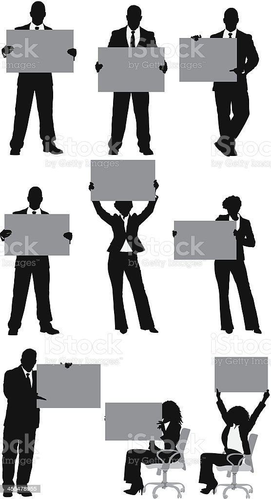 Multiple silhouettes of business people with placard vector art illustration