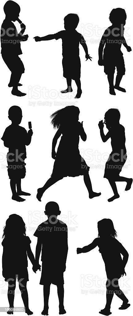 Multiple silhouettes of children royalty-free stock vector art