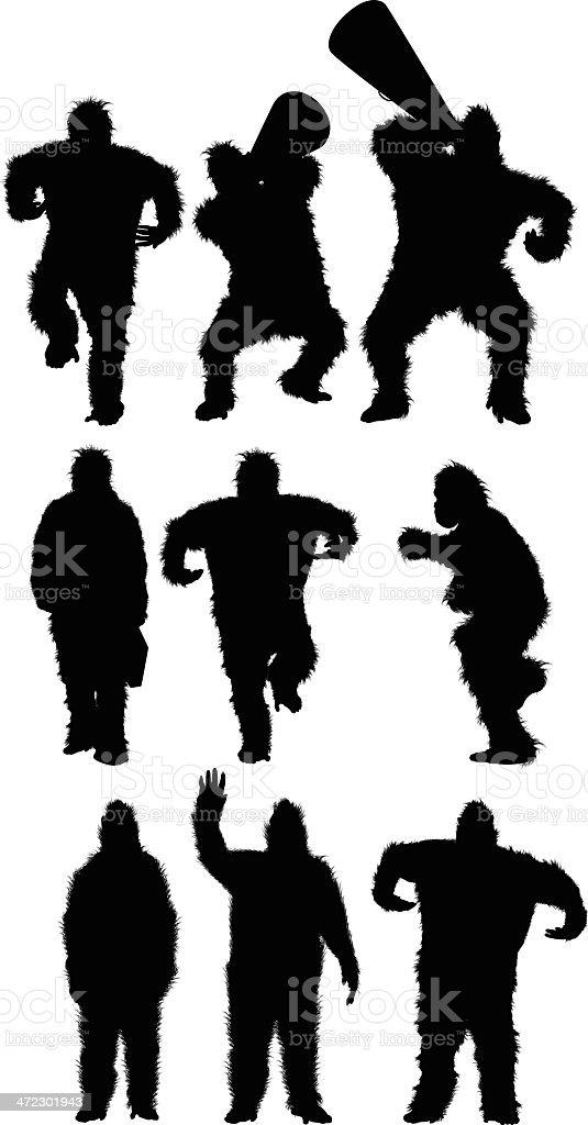 Multiple silhouettes of gorillas vector art illustration