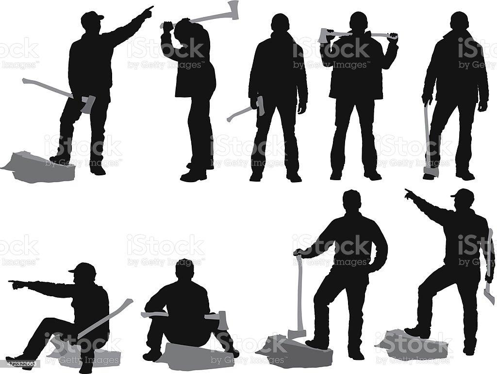 Multiple silhouettes of lumberjack royalty-free stock vector art