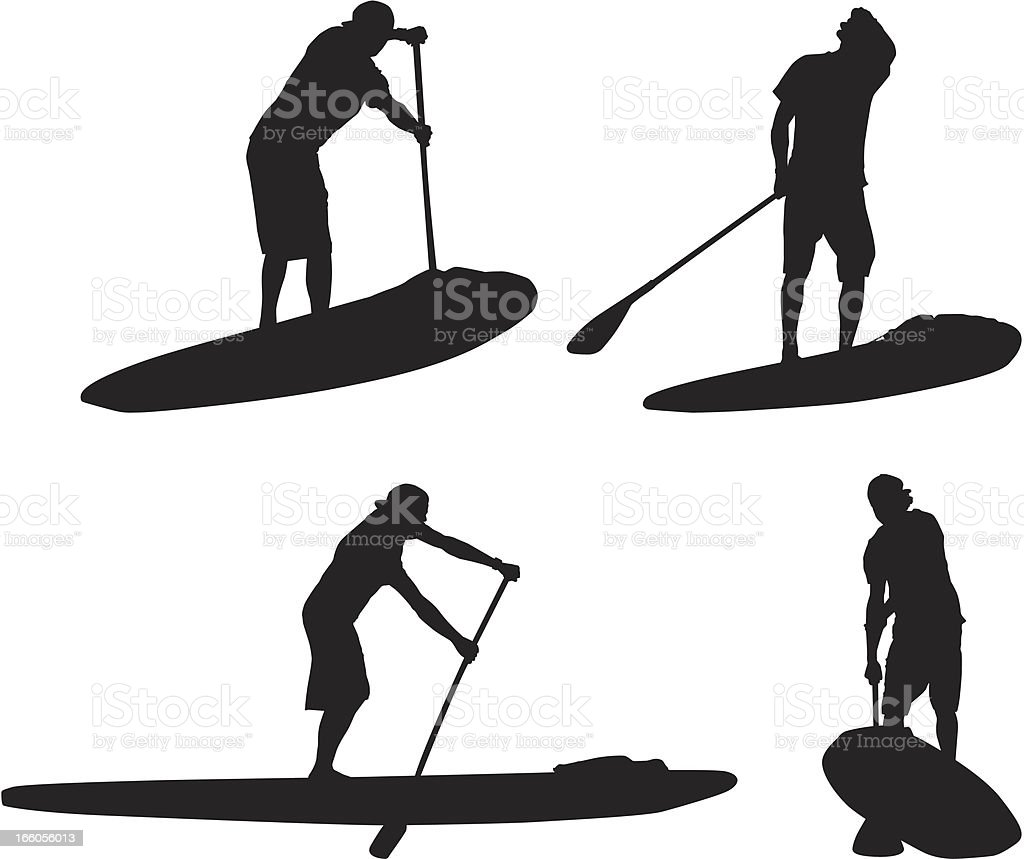 Multiple silhouettes of man on paddleboard royalty-free stock vector art