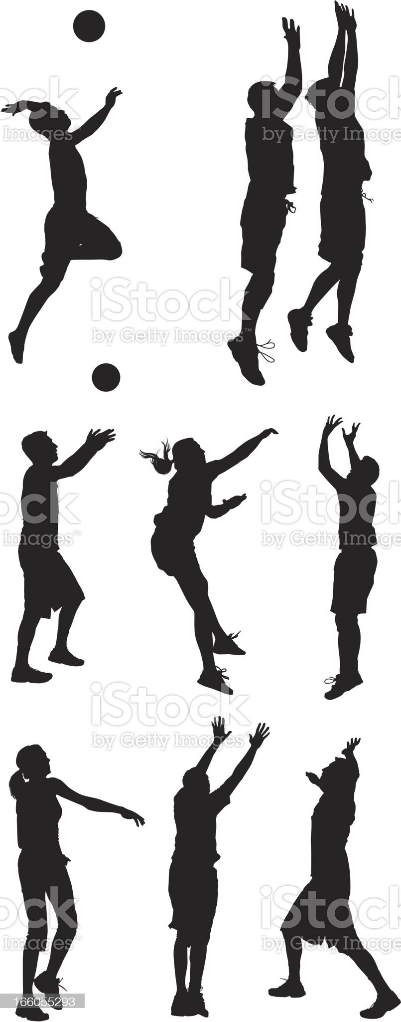 Multiple silhouettes of men and women playing volleyball royalty-free stock vector art