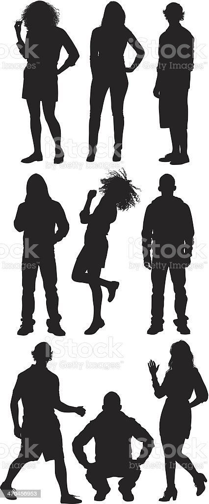 Multiple silhouettes of men and women posing royalty-free stock vector art