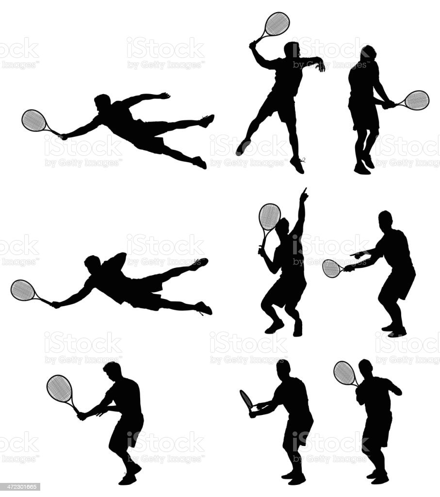Multiple silhouettes of men playing tennis vector art illustration