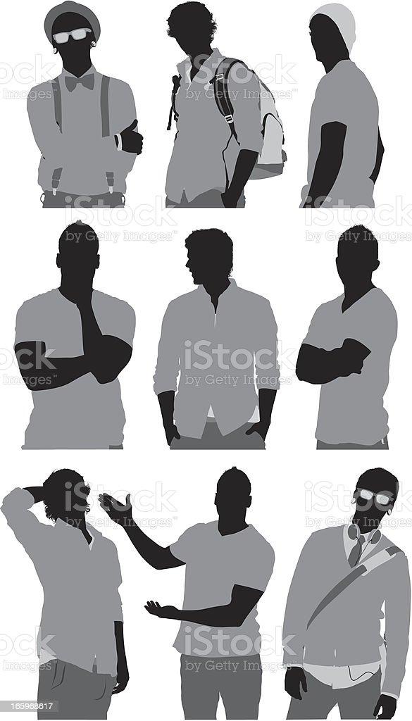 Multiple silhouettes of men posing royalty-free stock vector art