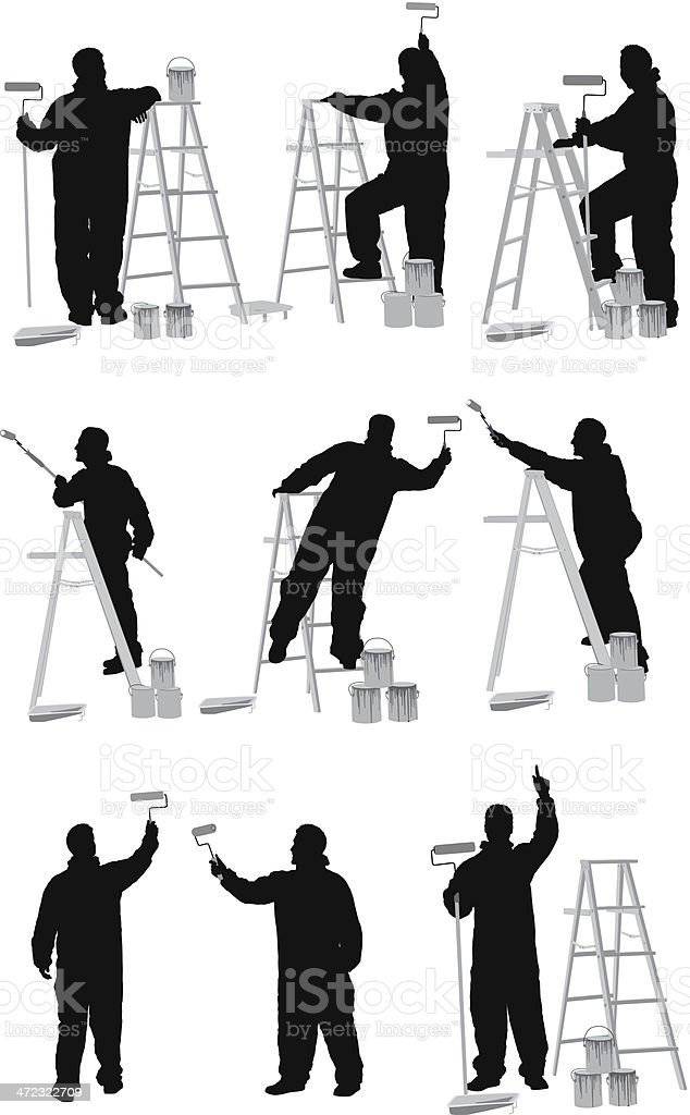 Multiple silhouettes of painter royalty-free stock vector art