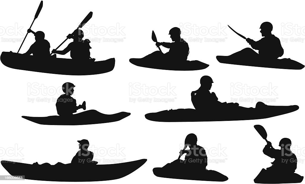 Multiple silhouettes of people canoeing vector art illustration