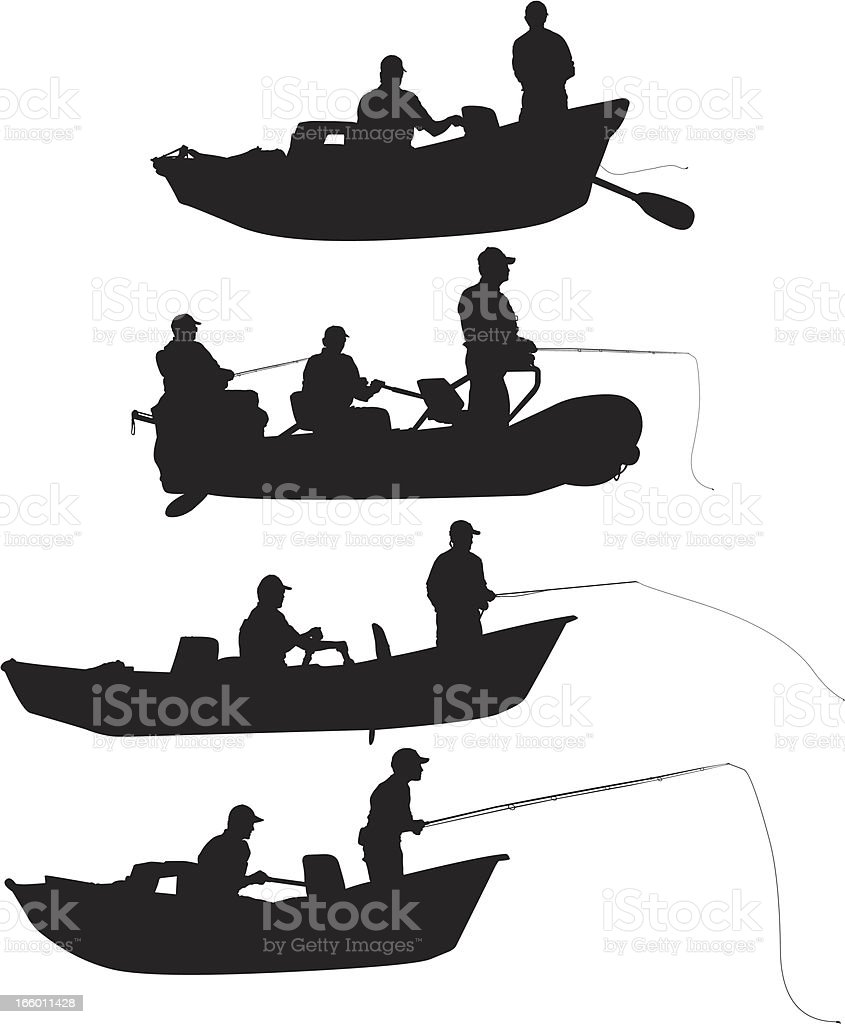 Multiple silhouettes of people fishing vector art illustration