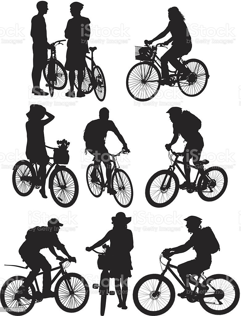Multiple silhouettes of people on bicycle vector art illustration